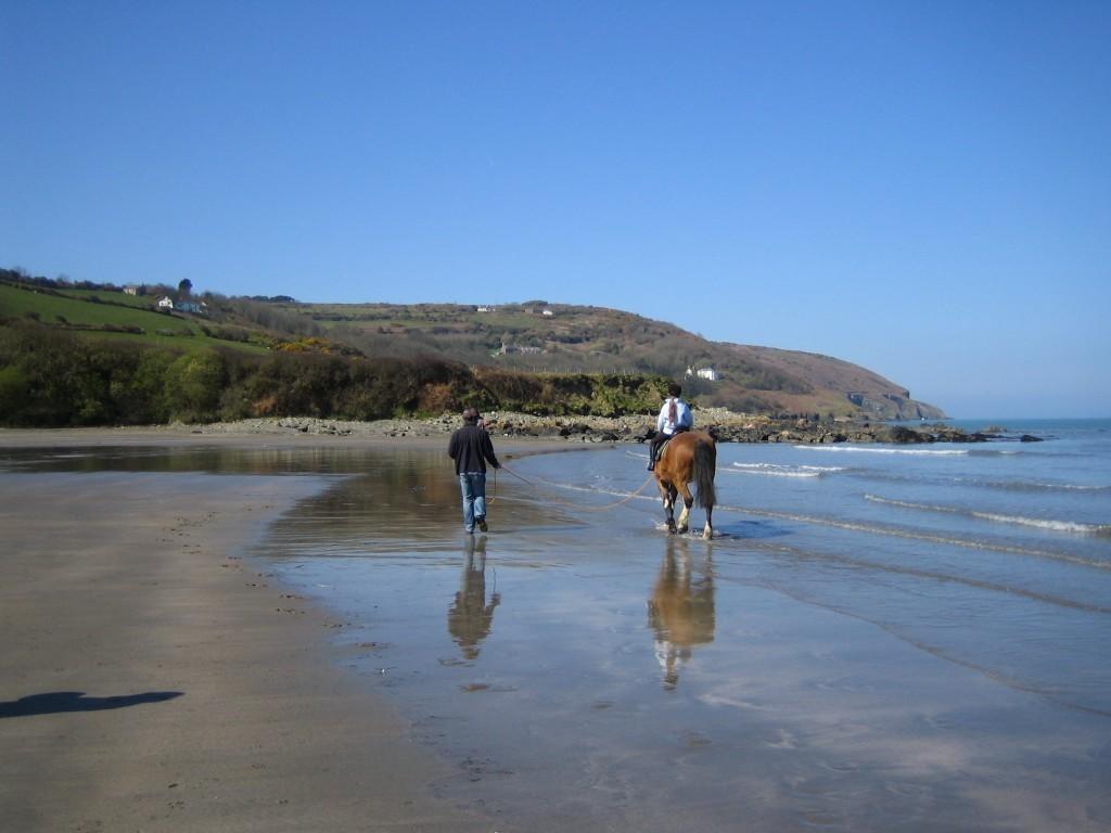 Sad Dad running on the beach